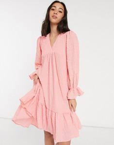 Różowa sukienka Y.A.S mini z długim rękawem