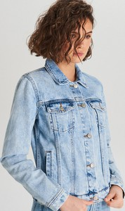 Niebieska kurtka Cropp krótka w street stylu z jeansu