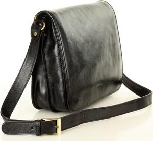 Czarna torebka Mazzini Business ze skóry na ramię