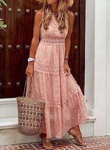 Sukienka Sandbella w stylu boho z długim rękawem maxi