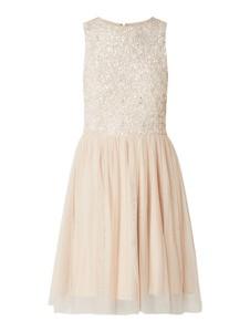 Różowa sukienka Lace & Beads bez rękawów rozkloszowana z okrągłym dekoltem