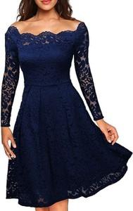 Niebieska sukienka Cikelly z okrągłym dekoltem z długim rękawem