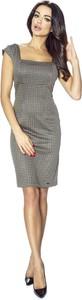 Sukienka Bergamo mini bez rękawów z dekoltem w karo