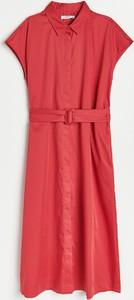 Sukienka Reserved midi z krótkim rękawem koszulowa