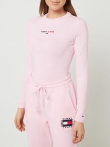 Różowa bluzka Tommy Jeans z bawełny z okrągłym dekoltem z długim rękawem