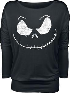 Czarna bluzka Miasteczko Halloween w młodzieżowym stylu z długim rękawem