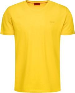 Żółty t-shirt Hugo Boss z krótkim rękawem