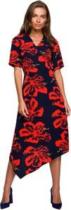 Czerwona sukienka Style z krótkim rękawem z dekoltem w kształcie litery v