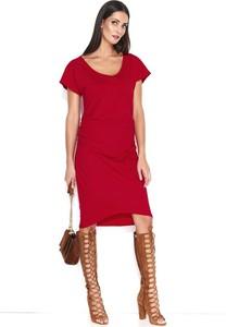 Czerwona sukienka Makadamia z bawełny midi z okrągłym dekoltem