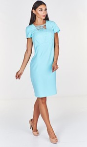 Miętowa sukienka Fokus z dekoltem w kształcie litery v dopasowana midi