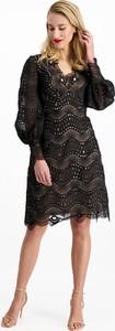 Czarna sukienka Lavard z długim rękawem