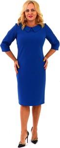 Niebieska sukienka Roxana - sukienki midi z kołnierzykiem