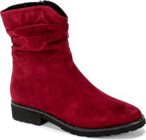 Czerwone botki Marco Tozzi w stylu casual