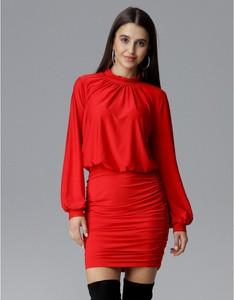 Czerwona sukienka Figl z długim rękawem mini