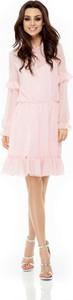 Sukienka Lemoniade z okrągłym dekoltem z szyfonu z długim rękawem