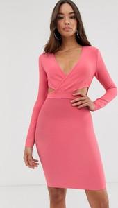 Różowa sukienka The Girlcode mini z długim rękawem