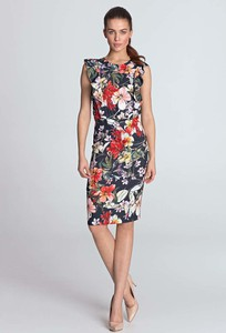 Sukienka Nife midi z okrągłym dekoltem w stylu casual