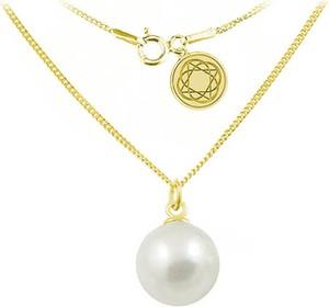 Lian Art Srebrny naszyjnik z perłą Swarovski® 10mm - 24k złocenie