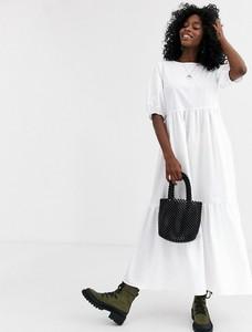 Sukienka Asos Design maxi z okrągłym dekoltem z bawełny
