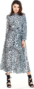 Sukienka Awama maxi koszulowa z długim rękawem