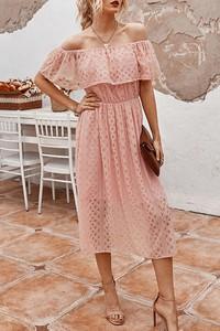 Różowa sukienka IVET trapezowa midi