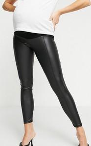 ASOS DESIGN Maternity – Czarne legginsy z imitacji skóry z zaszewkami-Czarny