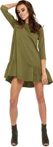 Zielona sukienka Ohh La La z okrągłym dekoltem mini w stylu casual