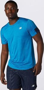 Niebieski t-shirt New Balance z dzianiny z krótkim rękawem