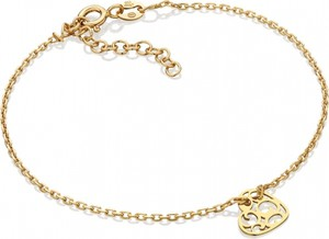 Caviallo Srebrna bransoletka z ażurowym serduszkiem, pozłacana 24k złotem