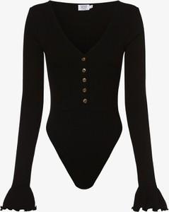 Czarna bluzka NA-KD z długim rękawem w stylu casual z dekoltem w kształcie litery v
