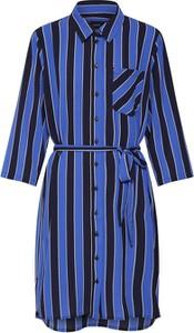 Niebieska sukienka Object z kołnierzykiem z długim rękawem
