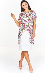 Sukienka Fokus z okrągłym dekoltem z tkaniny z krótkim rękawem