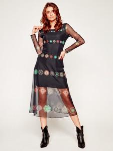 Sukienka Desigual midi z długim rękawem z okrągłym dekoltem
