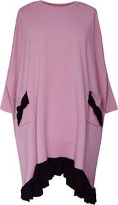 Sukienka Sklep XL-ka z bawełny z długim rękawem z okrągłym dekoltem