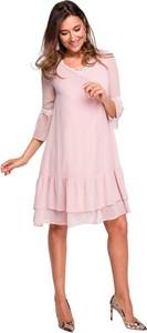 Różowa sukienka Style w stylu boho z długim rękawem