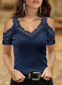 Granatowa bluzka Sandbella z dekoltem w kształcie litery v w stylu casual