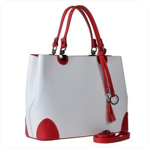 Borse in pelle skorzana torebka shopper kuferek l biało czerwona