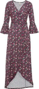 Sukienka bonprix z długim rękawem z dekoltem w kształcie litery v