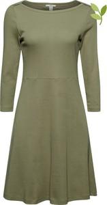 Zielona sukienka Esprit z bawełny z długim rękawem mini