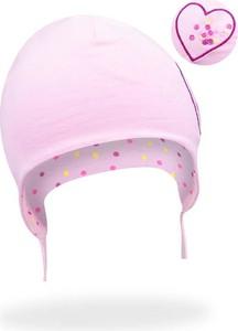 Różowa czapka YoClub dla dziewczynek z bawełny
