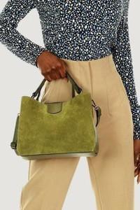 Zielona torebka Merg na ramię ze skóry