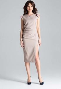 Sukienka Katrus bez rękawów midi z okrągłym dekoltem