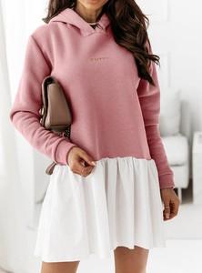 Różowa sukienka Pakuten z długim rękawem mini z dresówki