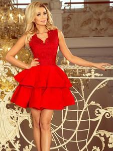 Czerwona sukienka NUMOCO z dekoltem w kształcie litery v bez rękawów mini