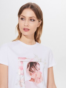 T-shirt Mohito z bawełny z krótkim rękawem z okrągłym dekoltem