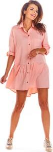 Różowa sukienka Awama mini w stylu casual z długim rękawem