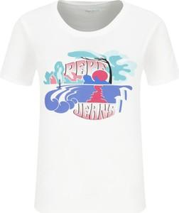 T-shirt Pepe Jeans w młodzieżowym stylu z okrągłym dekoltem z krótkim rękawem