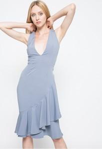 Błękitna sukienka Missguided midi bez rękawów z dekoltem w kształcie litery v