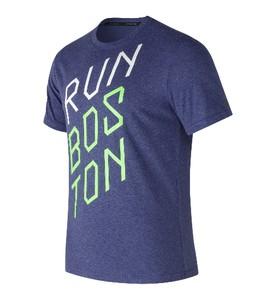 Niebieska koszulka New Balance z krótkim rękawem w młodzieżowym stylu z bawełny