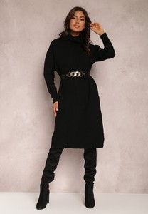 Czarna sukienka Renee z długim rękawem z golfem